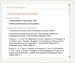 an example of the sources used by WolframAlpha