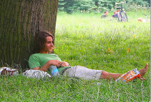 man relaxing beneath a tree