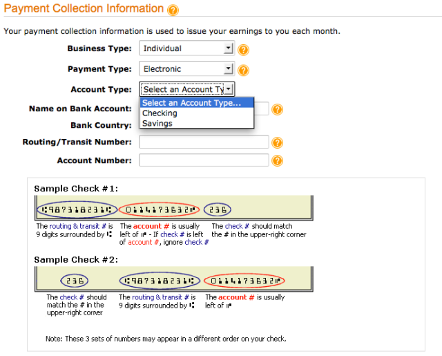 Payment options for Kindle blog publishing
