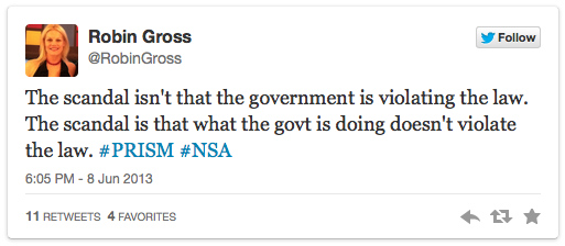 Robin Gross via twitter; the scandal is that what the govt is doing doesn't violate the law